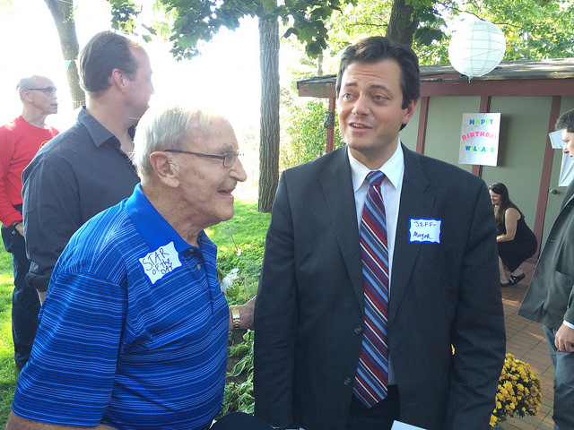 Willard Kinzie (Mayor 1957-1961) with Jeff Lehman (2010 to present) at the open house